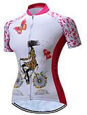 hesapli Mini Elbiseler-TELEYI Kadın's Kısa Kollu Bisiklet Forması Pembe Çiçek / Botanik Büyük Bedenler Bisiklet Forma Üstler Nefes Alabilir Nem Emici Hızlı Kuruma Spor Dalları Polyester Dağ Bisikletçiliği Yol Bisikletçiliği
