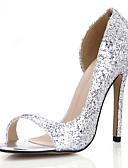 cheap Wedding Dresses-Women's Synthetics Spring & Summer Minimalism Heels Stiletto Heel Peep Toe Sequin Gold / Silver / Wedding / Party & Evening
