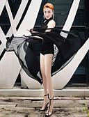 お買い得  メンズシャツ-ダンスコスチューム エキゾチック・ダンスウェア / ナイトクラブジャンプスーツ 女性用 性能 スパンデックス フリル ノースリーブ スカート / レオタード / 着ぐるみ