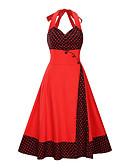 halpa Vintage-kuningatar-Naisten Ohut A-linja Mekko - Polka Dot Color Block, Painettu Niskalenkki Midi