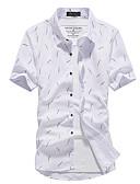 levne Pánské košile-Pánské - Geometrický Košile, Tisk Kulatý límeček Bílá / Krátký rukáv