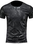 hesapli Erkek Tişörtleri ve Atletleri-Erkek Yuvarlak Yaka Tişört Kabile Sokak Şıklığı Siyah / Kısa Kollu