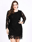 cheap Romantic Lace Dresses-Women's Daily Elegant Sheath Dress - Solid Colored Lace Black XXXL XXXXL XXXXXL / Sexy