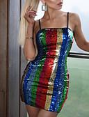 abordables Vestidos de Nochevieja-Mujer Fiesta Básico Chic de Calle Delgado Vaina Vestido - Lentejuelas, Bloques Mini Con Tirantes / Sexy