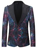 billige Herreblazere og dresser-Herre Daglig Grunnleggende Normal Blazer, Geometrisk Skjortekrage Langermet Bomull Regnbue XL / XXL / XXXL