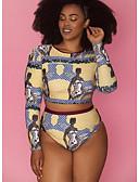 povoljno One-piece swimsuits-Žene Bijela Cheeky gaćice Tankini Kupaći kostimi - Geometrijski oblici Print XXL XXXL XXXXL