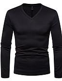 billige T-shirts og undertrøjer til herrer-V-hals Herre - Ensfarvet Basale T-shirt Vin L / Langærmet