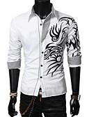 povoljno Muške košulje-Majica Muškarci - Osnovni Dnevno Pamuk Geometrijski oblici / Color block Crn / Dugih rukava