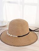 hesapli Kadın Şapkaları-Kadın's Vintage Temel Hasır Güneş şapkası Desen Bej Koyu Mavi Haki