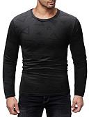 お買い得  メンズTシャツ&タンクトップ-男性用 プリント Tシャツ ベーシック ラウンドネック カラーブロック / グラフィック コットン ブラック L / 長袖