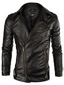 ราคาถูก แจ็กเก็ต &เสื้อโค้ทผู้ชาย-สำหรับผู้ชาย ทุกวัน พื้นฐาน ตก ปกติ แจ็ดเก็ตหนัง, สีพื้น คอเสื้อเชิ้ต แขนยาว PU สีดำ / ทับทิม / สีกากี L / XL / XXL