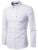 billige T-skjorter og singleter til herrer-Bomull Tynn Skjorte Herre - Ensfarget Grunnleggende Svart XXXL / Langermet