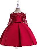preiswerte Kleider für Mädchen-Kinder Mädchen Aktiv Süß Party Festtage Solide Halbe Ärmel Knielang Kleid Rote