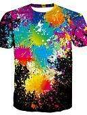 hesapli Erkek Tişörtleri ve Atletleri-Erkek Yuvarlak Yaka Tişört Desen, Gökküşağı Temel / Abartılı Gökküşağı / Kısa Kollu / Yaz