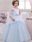 Χαμηλού Κόστους Φορέματα για κορίτσια-Πριγκίπισσα Μακρύ Φόρεμα για Κοριτσάκι Λουλουδιών - Δαντέλα / Τούλι / Mikado 3/4 Μήκος Μανικιού Τετράγωνη Λαιμόκοψη με Φιόγκος(οι) / Δαντέλα / Κόψιμο με LAN TING Express