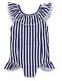Χαμηλού Κόστους Φορέματα για κορίτσια-Παιδιά Κοριτσίστικα χαριτωμένο στυλ Παραλία Ριγέ Αμάνικο Πολυεστέρας Μαγιό Θαλασσί