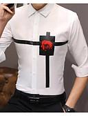 cheap Men's Shirts-Men's Basic Shirt - Solid Colored / Geometric