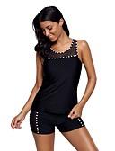 cheap One-piece swimsuits-Women's Basic Strapless Black Boy Leg Tankini Swimwear - Check Black & White Racerback XL XXL XXXL Black / Sexy