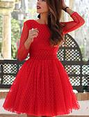 hesapli Vintage Kraliçesi-Kadın's İnce A Şekilli Elbise - Yuvarlak Noktalı, Kırk Yama Diz üstü