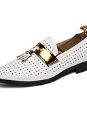 abordables Jerséis y Cardigans de Hombre-Hombre Zapatos Confort PU Primavera verano Casual Zapatos de taco bajo y Slip-On Antideslizante Blanco / Negro