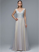 cheap Prom Dresses-A-Line V Neck Sweep / Brush Train Lace / Tulle Prom Dress with Beading / Appliques by TS Couture®