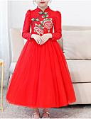 abordables Vestidos de Niña-Niños Chica Básico Diario Un Color Manga Larga Vestido Rojo