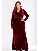 tanie Sukienki w rozmiarach plus-Damskie Podstawowy Pochwa Sukienka - Solidne kolory, Rozcięcie Maxi