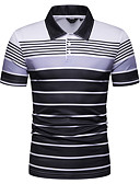 cheap Men's Clothing-Men's Polo - Striped Print Shirt Collar Blue
