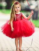 preiswerte Kleider für die Blumenmädchen-Kinder Mädchen Grundlegend Solide Ärmellos Kleid Rosa