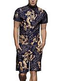 זול תחתוני גברים אקזוטיים-XL XXL XXXL טלאים / דפוס קולור בלוק / חיה, Rompers ישר כחול נייבי בסיסי / סגנון סיני בגדי ריקוד גברים