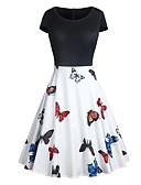 abordables Vestidos de Mujer-Mujer Festivos Noche Vintage Elegante Corte Swing Vestido - Retazos Estampado, Bloques Animal Alta cintura Hasta la Rodilla Mariposa / Sexy