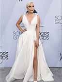 preiswerte Abendkleider-A-Linie V-Wire Ausschnitt Boden-Länge Taft Formeller Abend Kleid mit Muster / Druck durch TS Couture®
