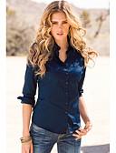 hesapli Gömlek-Kadın's Gömlek Yaka Gömlek Solid Doğal Pembe / Bahar / Yaz / Sonbahar / Kış