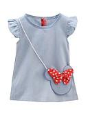 hesapli Elbiseler-Çocuklar / Toddler Genç Kız sevimli Stil Günlük Solid Kolsuz Diz-boyu Pamuklu Elbise Açık Mavi