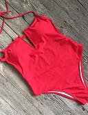 preiswerte Einteilie Badeanzüge-Damen Gurt Schwarz Rote Gelb Halter Cheeky-Bikinihose Einteiler Bademode - Solide S M L Schwarz