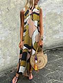 זול שמלות מקסי-צווארון V מקסי גיאומטרי - שמלה טוניקה מידות גדולות בגדי ריקוד נשים