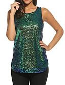billige T-skjorter til damer-U-hals T-skjorte Dame - Ensfarget, Paljetter Grunnleggende Lilla L