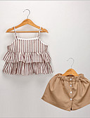 cheap Girls' Sweet Dresses-Kids / Toddler Girls' Basic Striped Sleeveless Polyester Clothing Set Brown