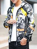 ราคาถูก แจ็กเก็ต &เสื้อโค้ทผู้ชาย-สำหรับผู้ชาย ทุกวัน ฤดูใบไม้ผลิ & ฤดูใบไม้ร่วง ขนาดพิเศษ ปกติ แจ๊คเก็ต, รูปเรขาคณิต / ลายบล็อคสี ฮู้ด แขนยาว เส้นใยสังเคราะห์ สีน้ำเงิน / ใบไม้สีเขียวที่มีสามแฉก / สีเหลือง XXL / XXXL / XXXXL
