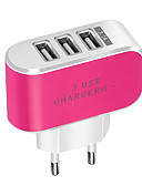 billige Kabler og Lader til mobiltelefon-Bærbar lader USB-lader Eu Plugg Normal 3 USB-porter 3.1 A DC 5V til