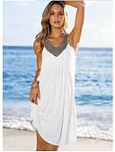저렴한 섹시한 몸-여성용 비치 보호 스윙 드레스 - 솔리드, 주름 잡힌 미디 V 넥