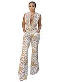 baratos Conjuntos Femininos-Mulheres Diário Moda de Rua Branco Macacão, Geométrica Estampado M L XL Sem Manga