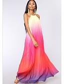 お買い得  女児 ドレス-女性用 スリム シフォン ドレス カラーブロック マキシ ホルター