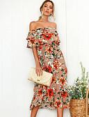 Χαμηλού Κόστους Παρεό-Γυναικεία Παραλία Λεπτό Θήκη Φόρεμα - Φλοράλ, Στάμπα Μίντι Ώμοι Έξω