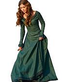 ieftine Rochii de Seară-Retro / Vintage Medieval Costume Pentru femei Rochii Roșu / Verde / Albastru Vintage Cosplay Petrecere ceai Festival Manșon Lung Lung Linia -A