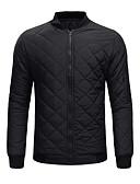 hesapli Erkek Ceketleri ve Kabanları-Erkek Günlük Normal Ceketler, Solid Yakasız Uzun Kollu Pamuklu / Polyester Yonca / Siyah / Koyu Mavi