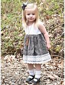 お買い得  女児 ドレス-赤ちゃん 女の子 ベーシック カラーブロック ノースリーブ コットン ドレス ホワイト