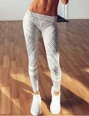 baratos Leggings para Mulheres-Mulheres Esportivo Legging - Listrado, Estampado Cintura Média / Skinny
