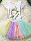 お買い得  女児 ドレス-子供 女の子 ストリートファッション 日常 カラーブロック メッシュ 半袖 ポリエステル アンサンブル レインボー