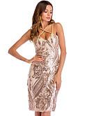 hesapli NYE Elbiseleri-Kadın's Temel Bandaj Kılıf Elbise - Geometrik Diz-boyu